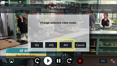 AO button for Audio Only in the video player in the DISH Anywhere phone app