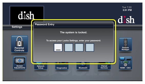 four-digit password entry (use the number pad on your remote)