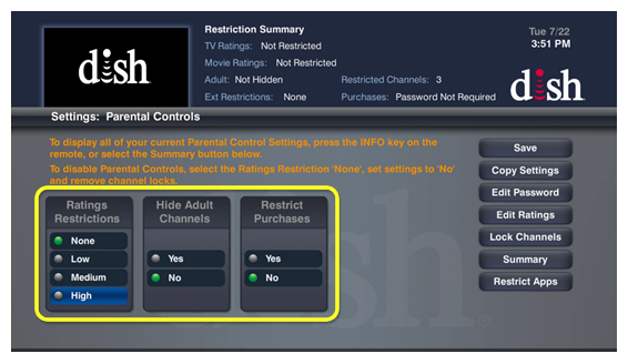 Parental Control preferences (use the remote to move through the lists of menu options)