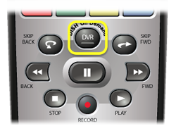 DVR button on DISH remote - center button below row of four horizontal color buttons