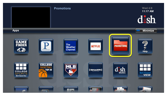 Promotions menu option (use the remote to move through the grid of menu options)