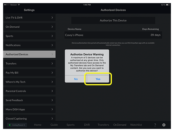 Authorize Device Warning pop-up prompt in DISH Anywhere tablet app