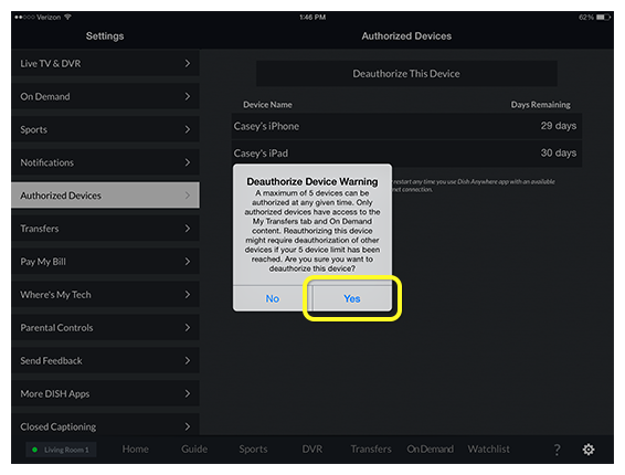 Deauthorize Device Warning pop-up prompt in DISH Anywhere tablet app