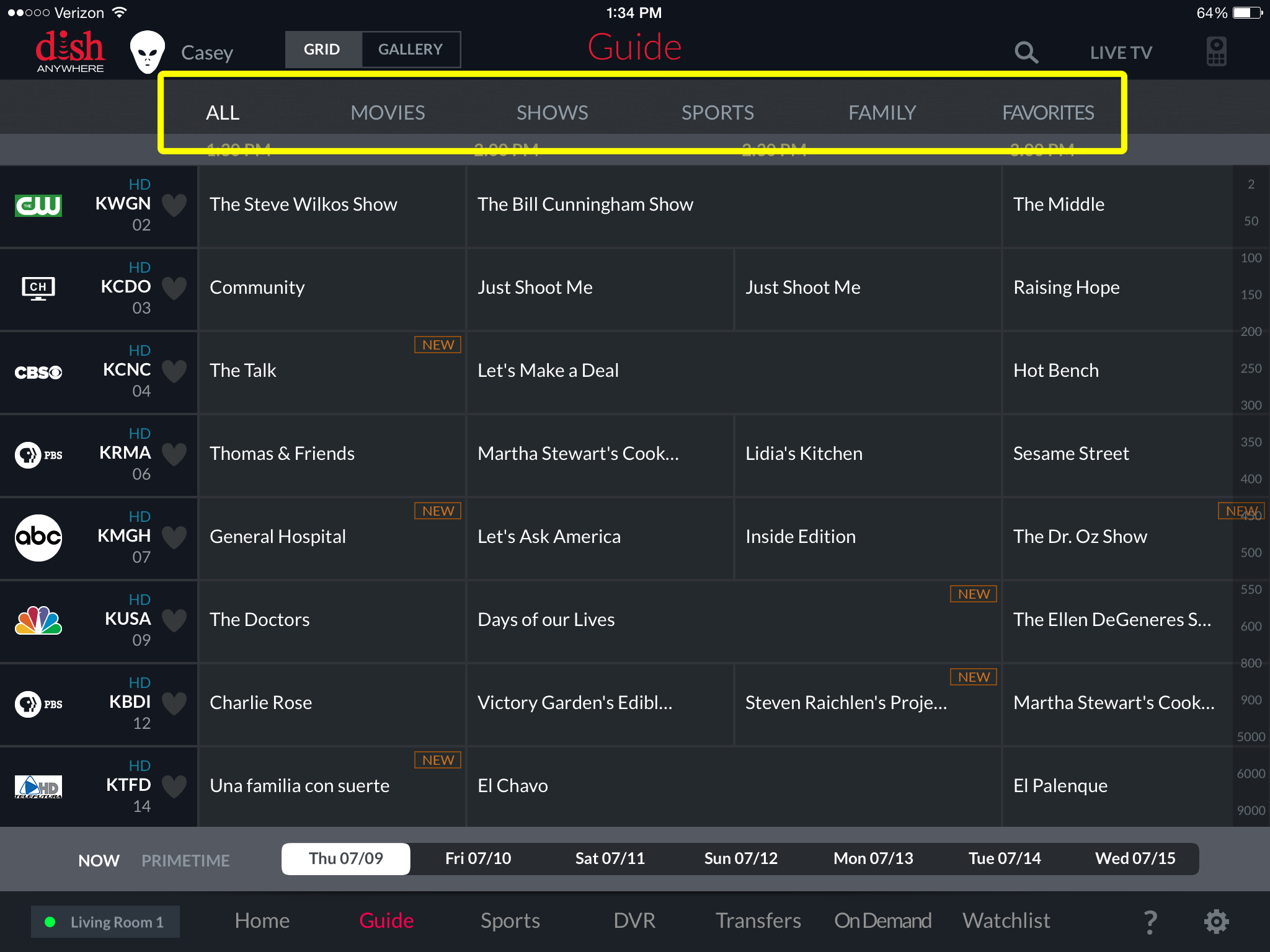 tabs for available categories above the guide, including Movies, Shows, Sports, Family, and Favorites