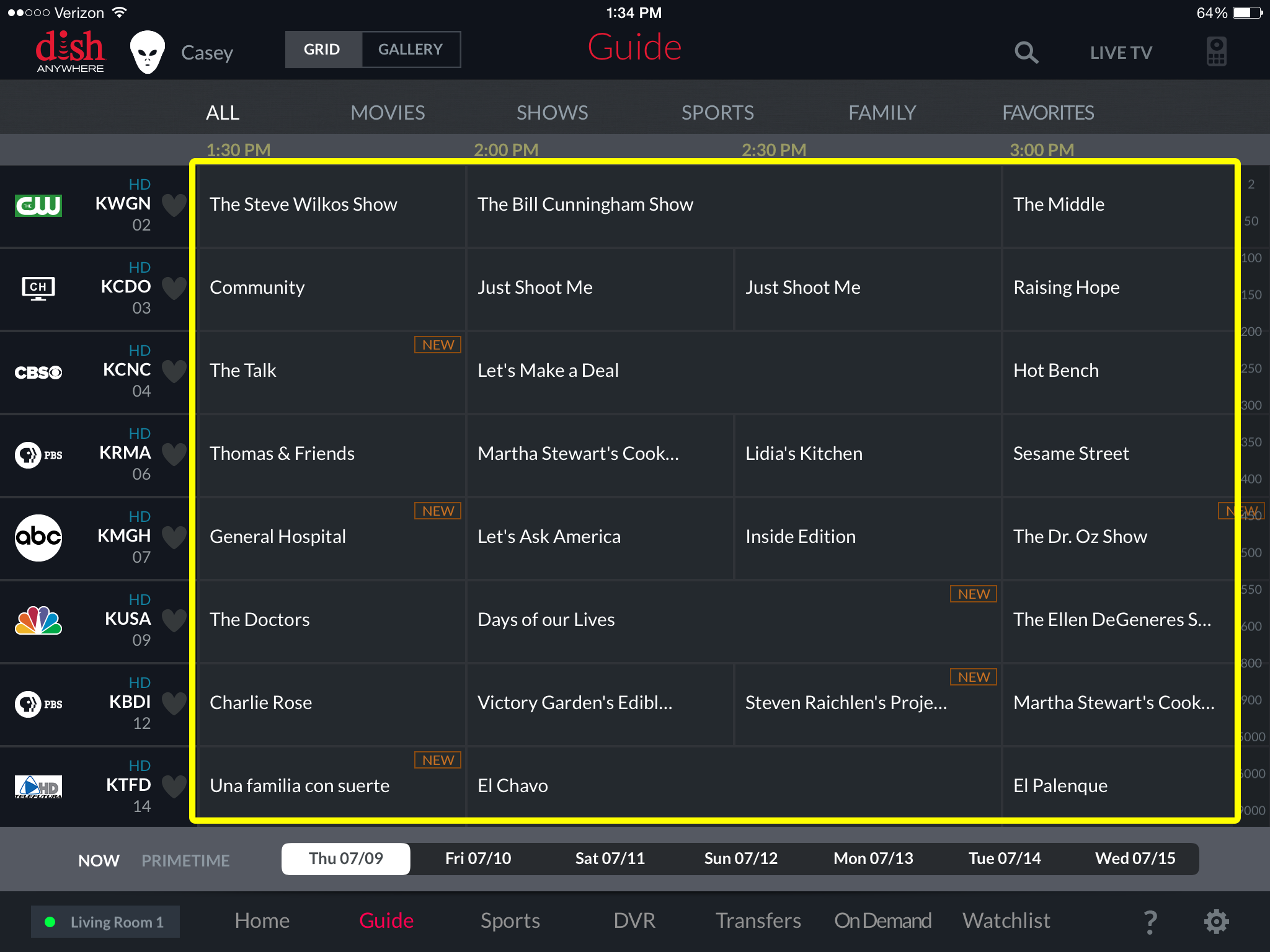 Channel guide in the DISH Anywhere tablet app