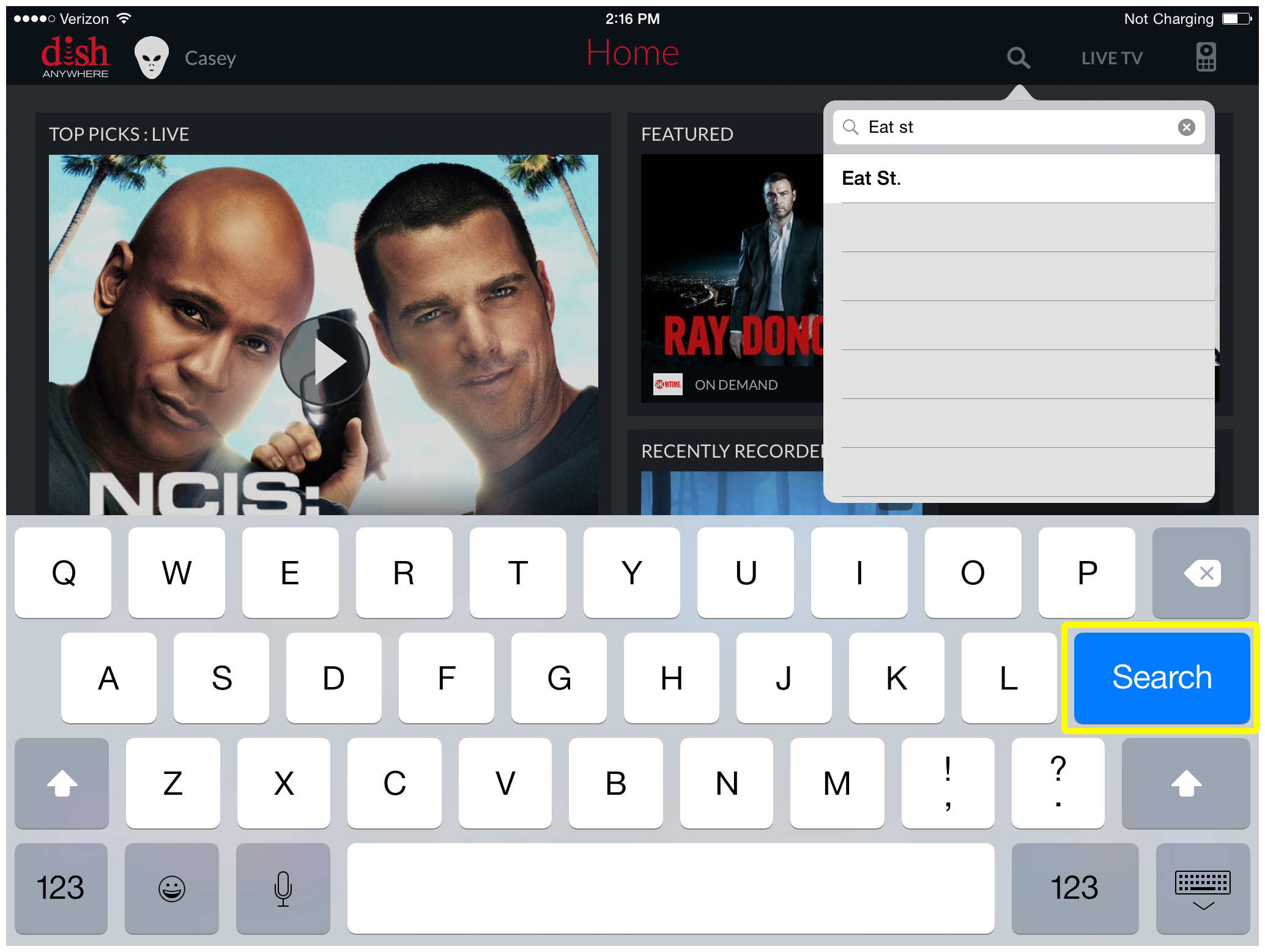 Search button on the on-screen keyboard in the DISH Anywhere tablet app