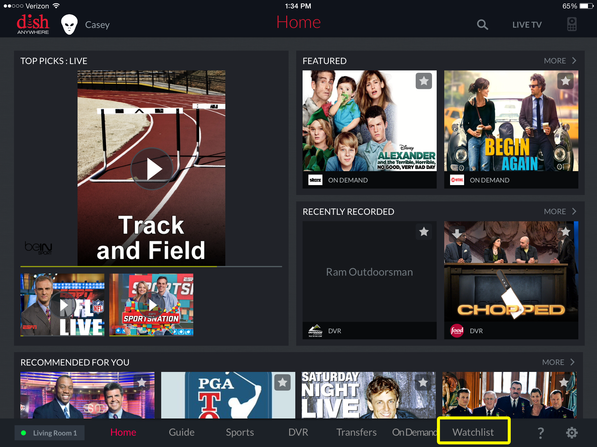 watchlist menu link at the bottom of the DISH Anywhere tablet app