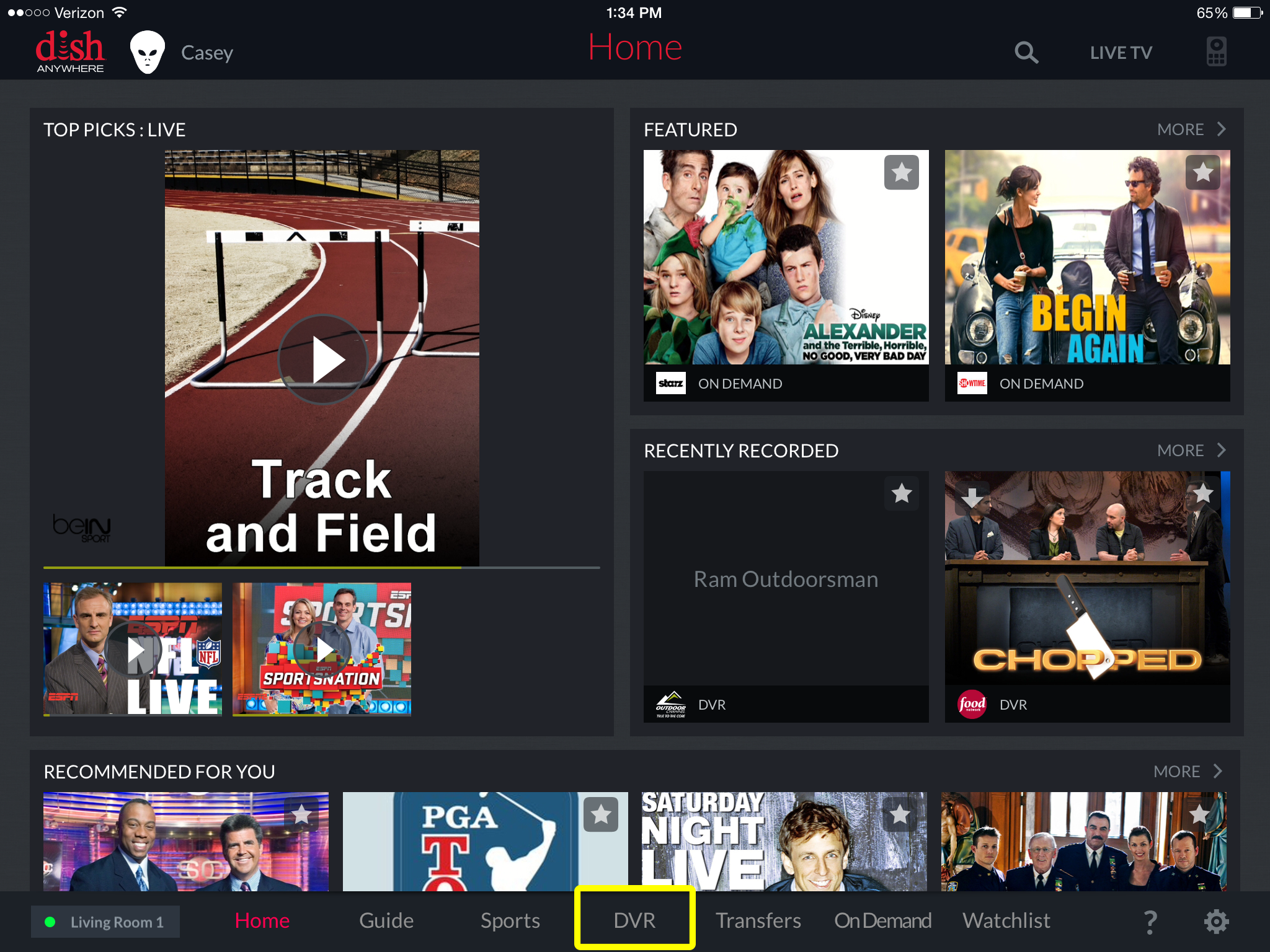 DVR navigation option at the bottom of the DISH Anywhere tablet app