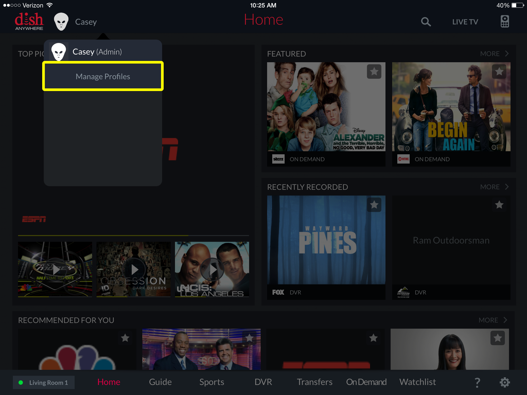 Manage Profiles menu option in DISH Anywhere tablet app