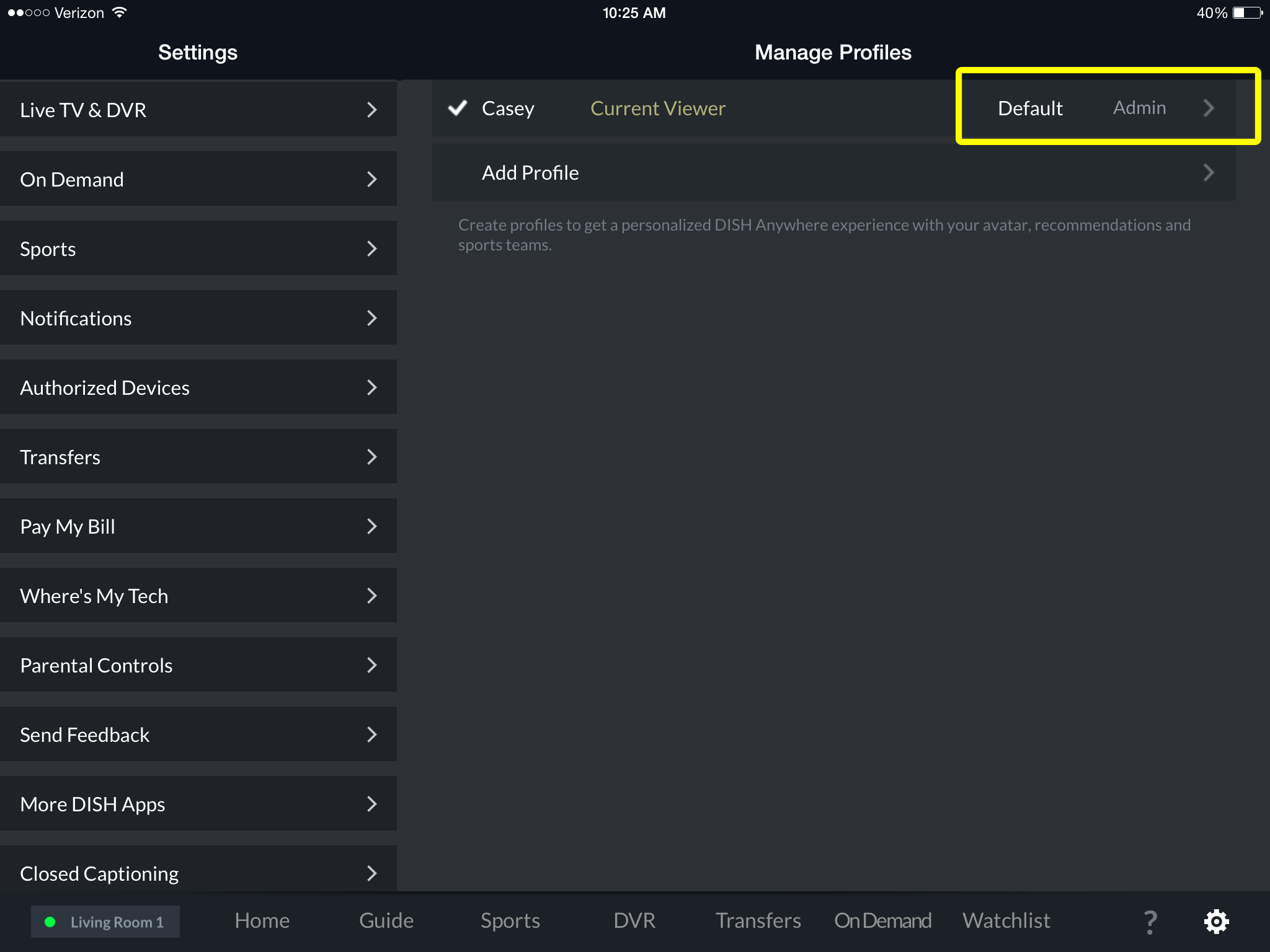 Admin profile showing as selected in DISH Anywhere tablet app