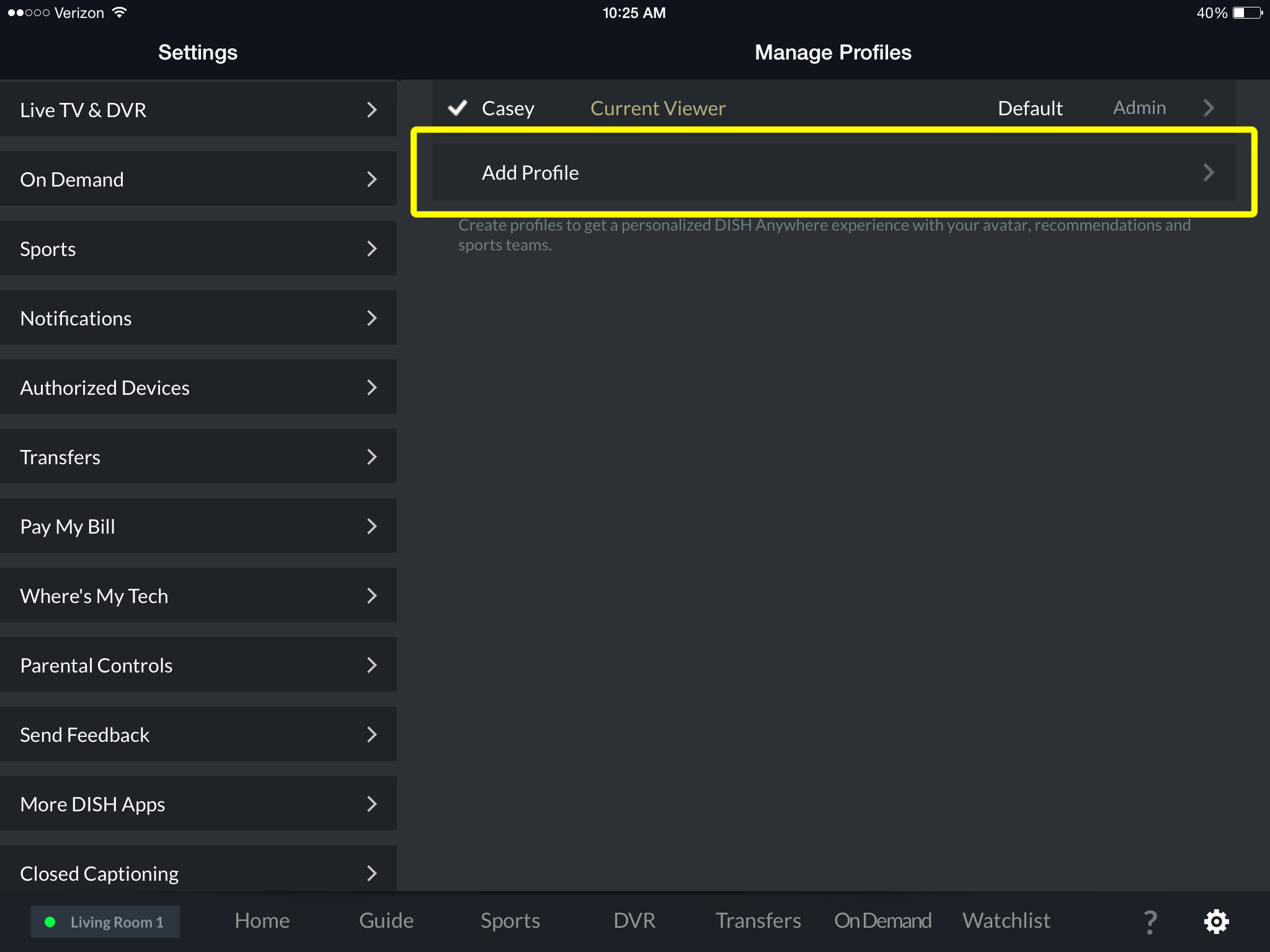 Add Profile menu option in DISH Anywhere tablet app
