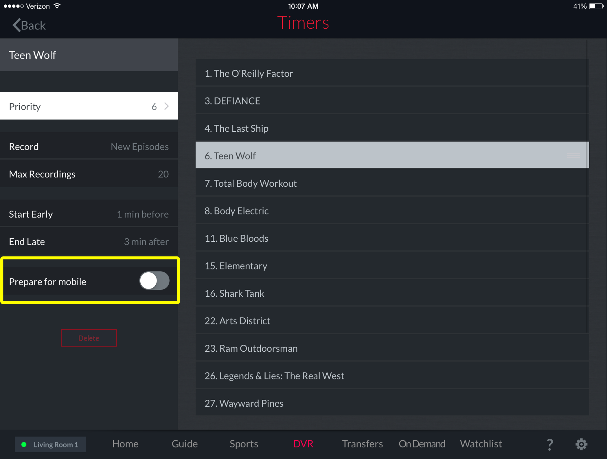how to delete a recording on dish
