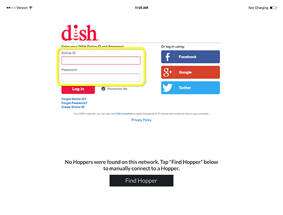 dishanywhere com log in and out mydish dish customer support