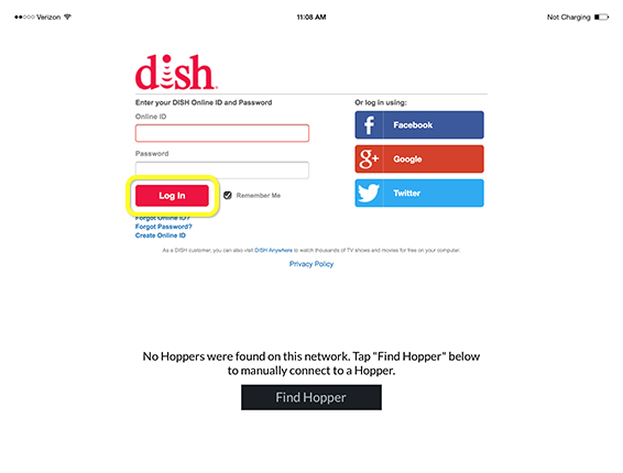 log in button on mydish form