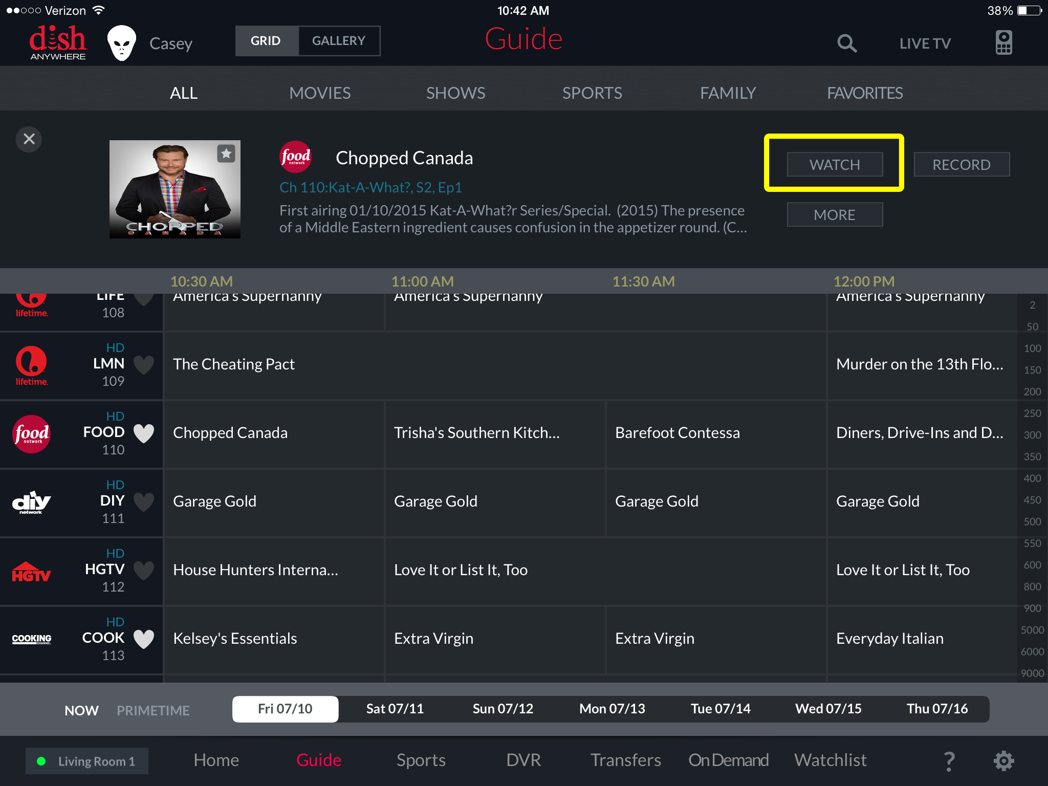 WATCH button on program detail page in DISH Anywhere tablet app