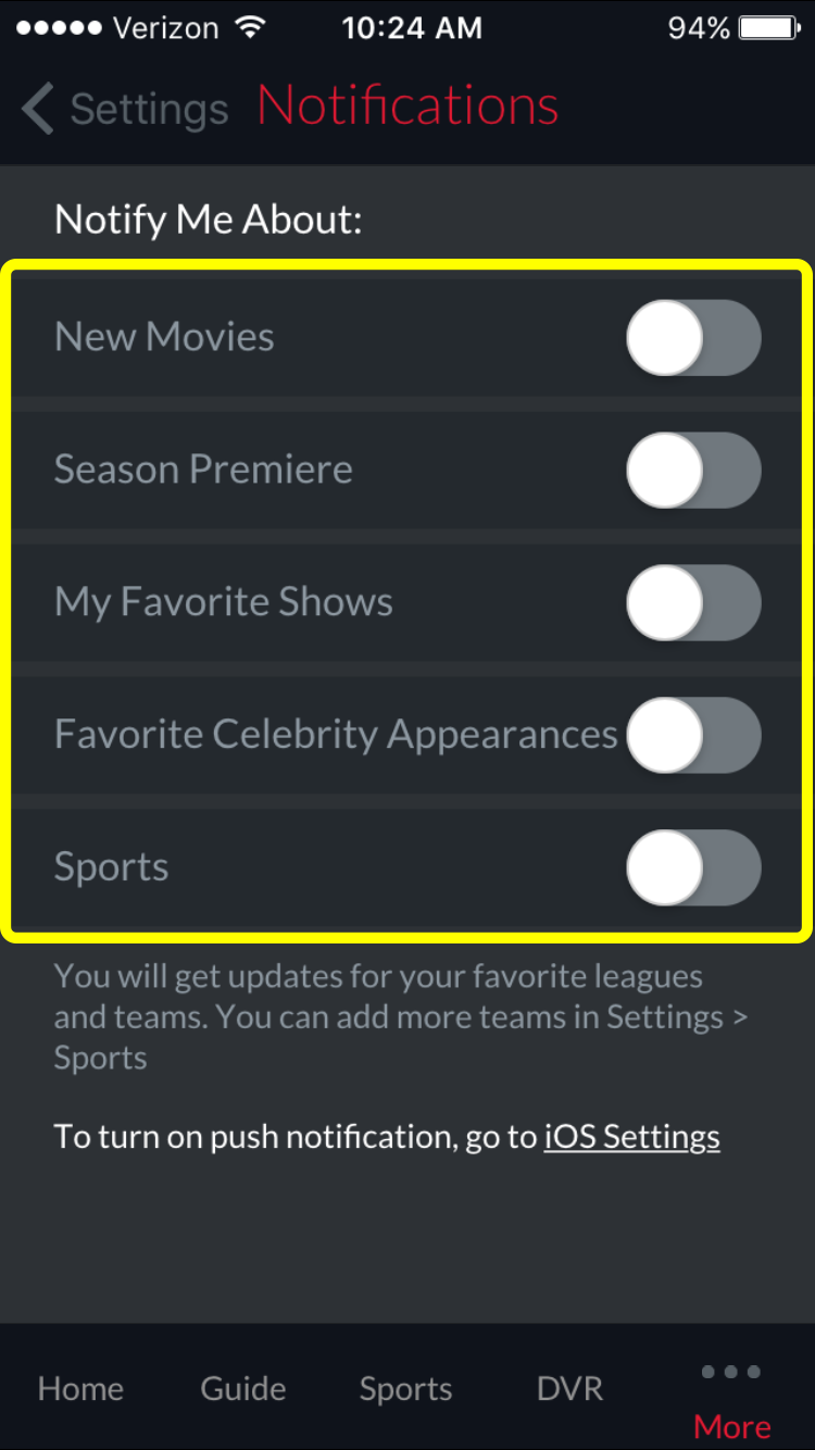 on/off toggles for notifications about new movies, season premieres, favorite shows, and more