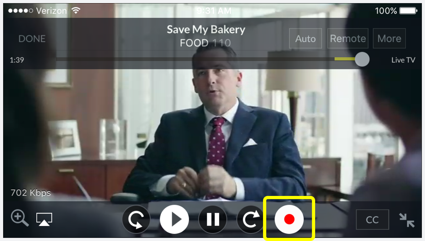 Record icon (red dot in white circle) alongside video player controls