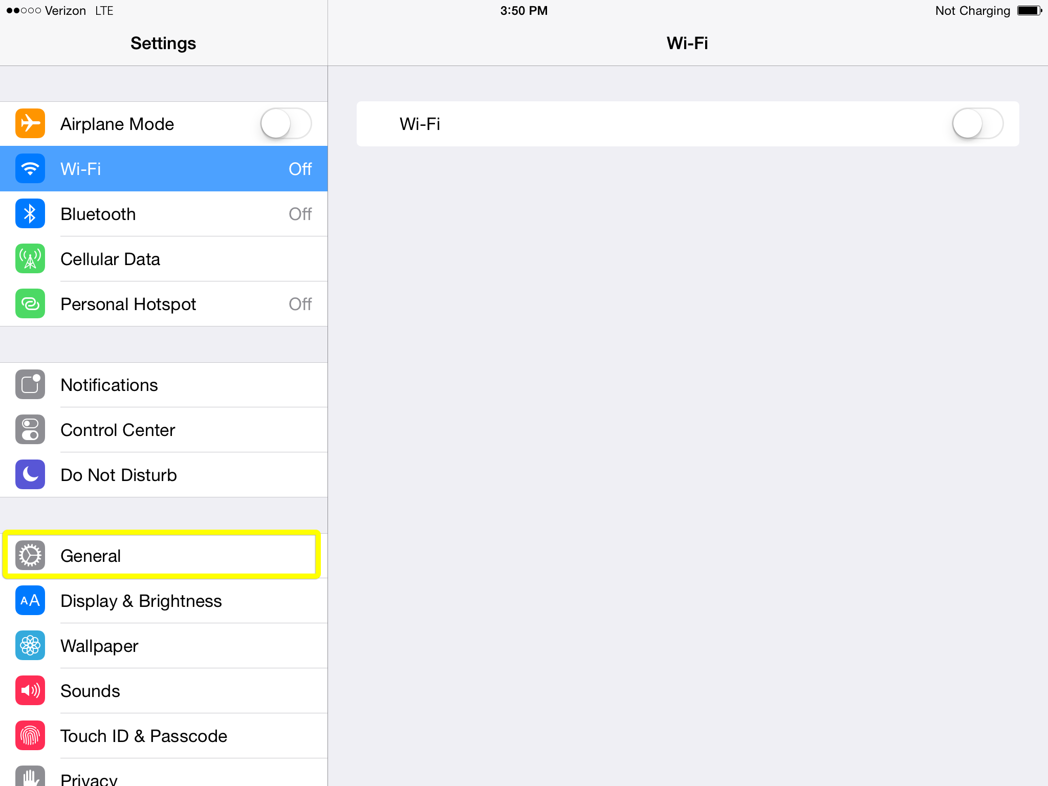 General settings option in iPad Settings app