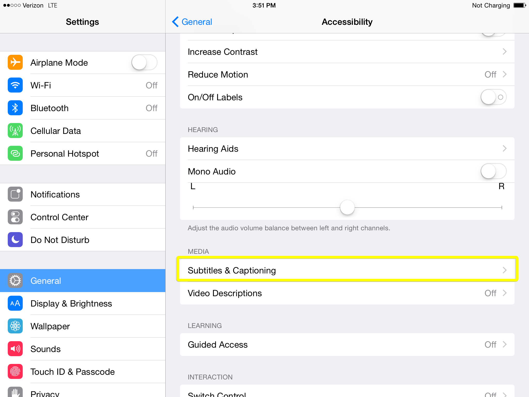 Subtitles and Captioning option under MEDIA in iPad accessibility settings