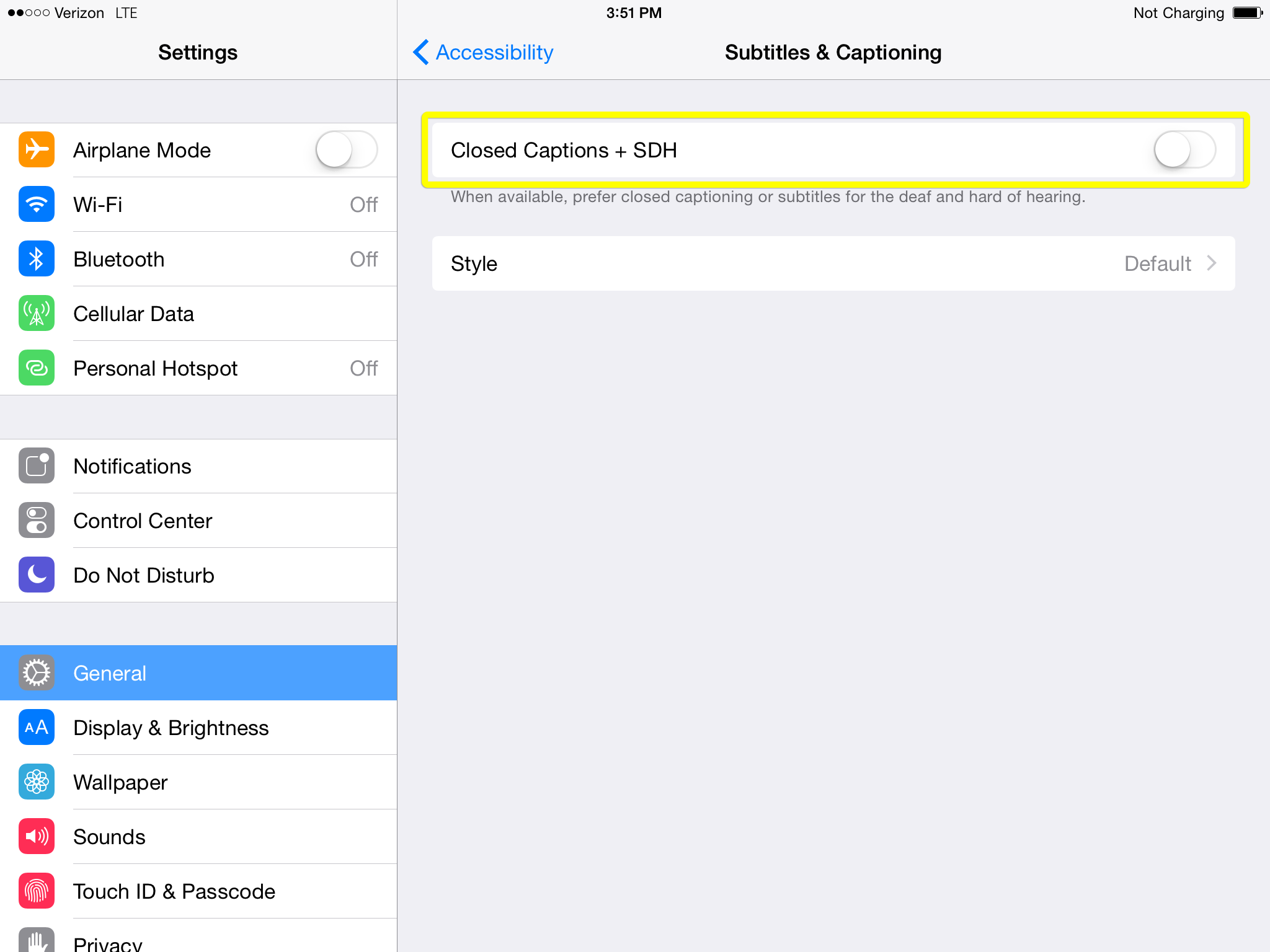 Closed Captions toggle switch in iPad Subtitles settings