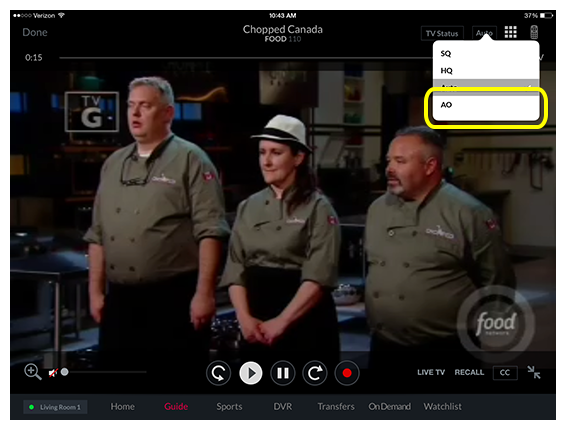 AO button for Audio Only in the video player in the DISH Anywhere tablet app