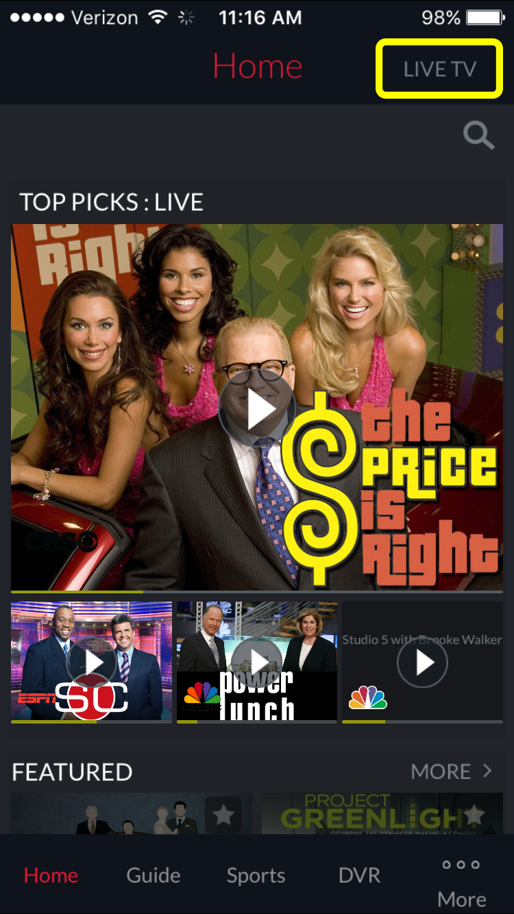 Live TV button at the top of the DISH Anywhere phone app home page