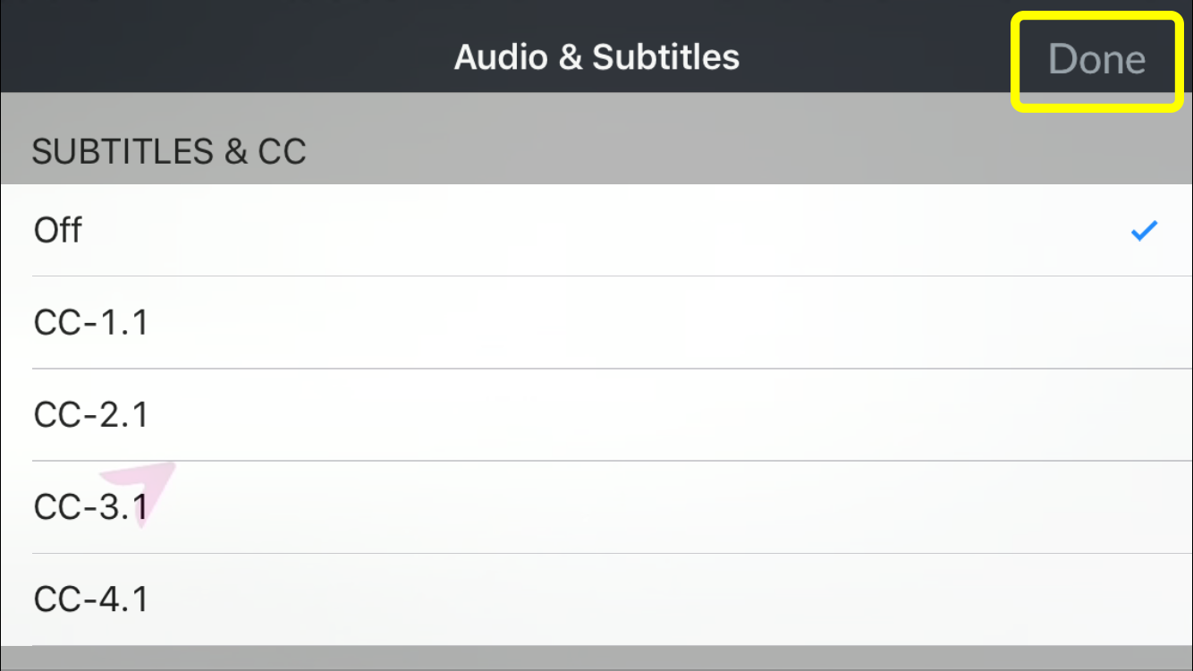 Done button in the top corner of the audio options menu in the DISH Anywhere phone app