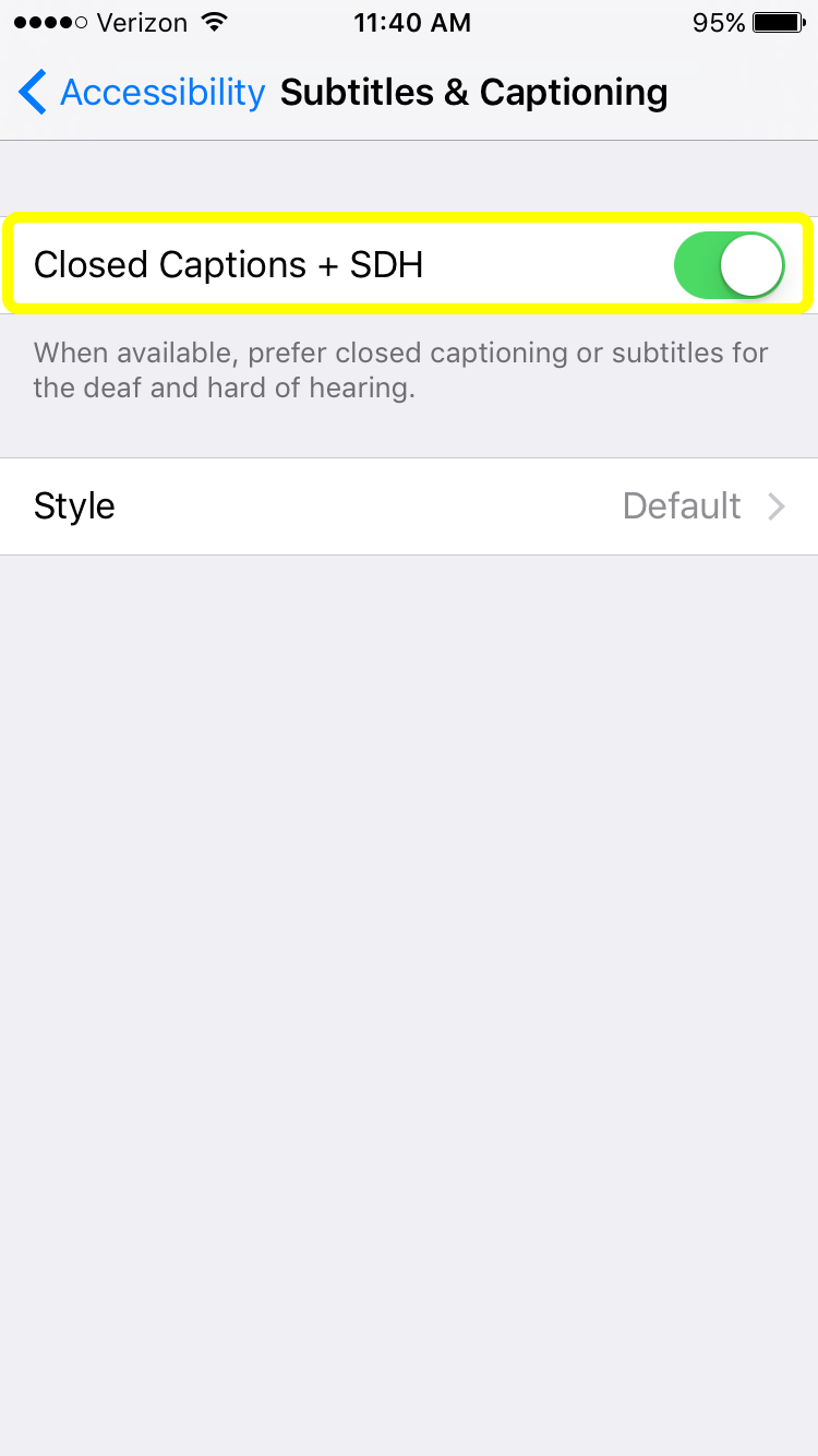 Closed Captions toggle set to ON in iPhone settings