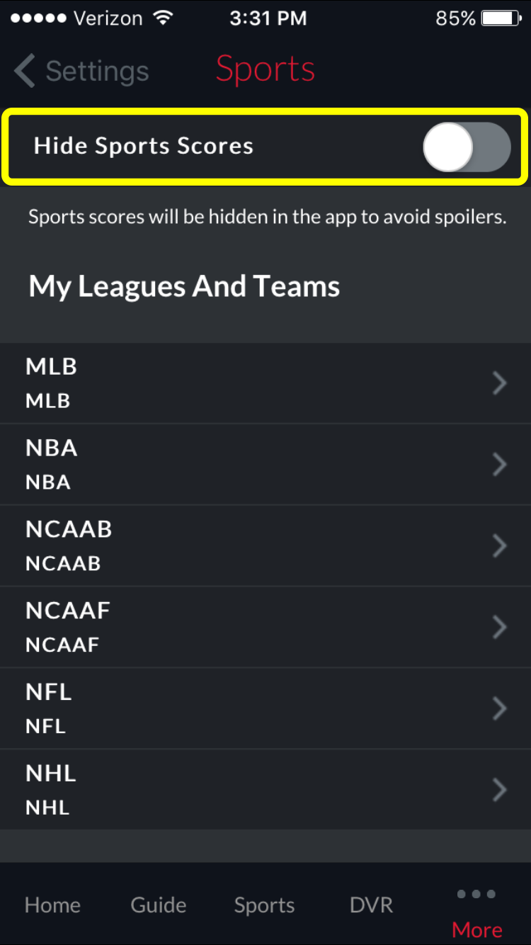 on/off toggle for 'Hide Sports Scores' option