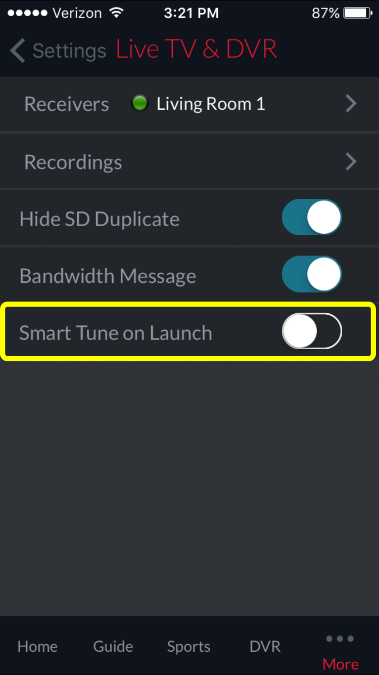 on/off toggle for Smart Tune option