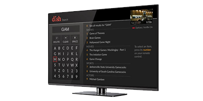TV showing DISH channel guide