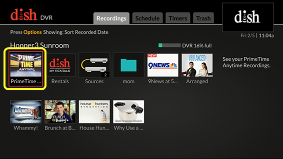 Grid of DVR options (Use the remote control to move through the grid of menu options.)