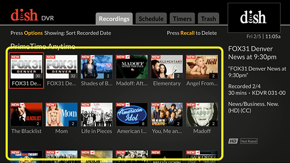 Gride of Primetime Anytime recordings (Use the remote control to move through the grid of menu options.)