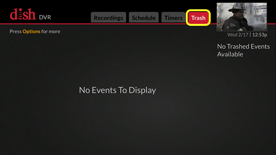 DVR menu (Use the skip forward button, which is the third indented button in the row below the flat touch pad, to locate the Trash tab)