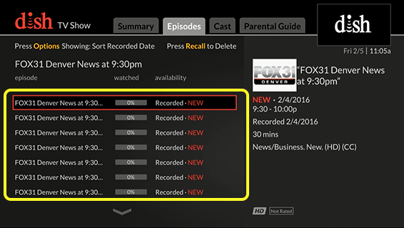 List of episodes (Use the remote control to move up and down through the list of options.)