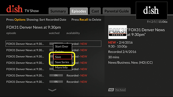 List of viewing options (Use the remote control to move up and down through the list of options.)