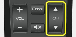 Channel buttons on 52.0 remote