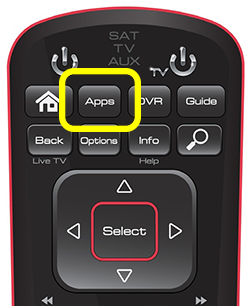 Apps button on 52.0 remote (second button in the top row of four buttons)
