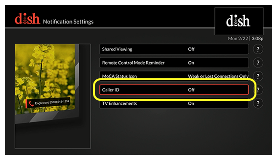 list of notification settings options (use the remote to move up and down through the list of options)