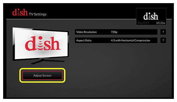 Tv settings scren with adjust screen button on left side and list of settings options on the right side (use the remote to move right and left until you reach the adjust screen button)