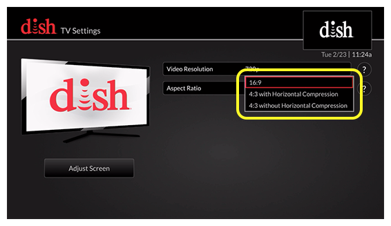list of aspect ratio options (use the remote to move up and down through the list of options)