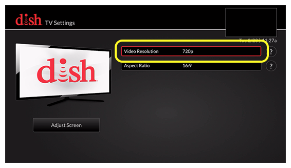 list of tv settings options (use the remote to move up and down through the list of options)