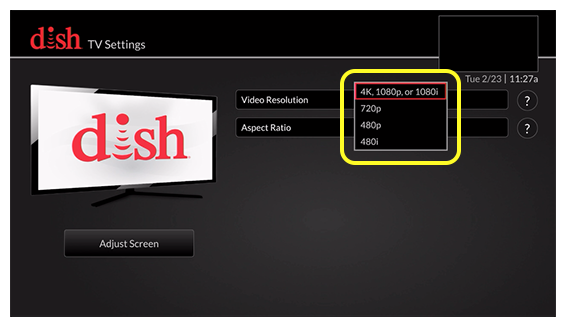 list of video resolution options (use the remote to move up and down through the list of options)