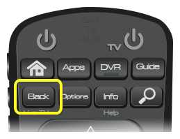 Back button on 52.0 remote (first button in the second row of four buttons)