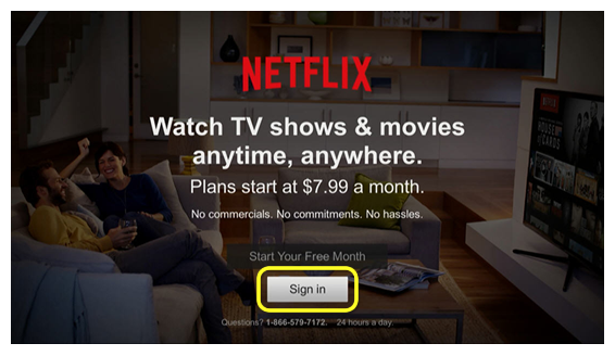 Sign In button on Netflix home screen