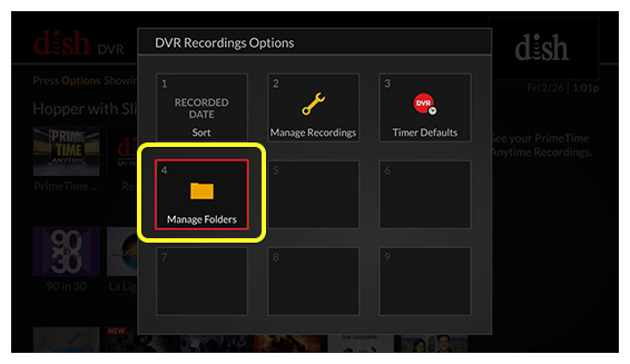 grid of DVR recordings options (Use the remote control to move through the grid of menu options.)