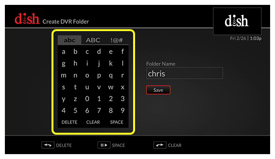on screen keyboard on the left and save button on the right (Use the remote control to move up, down, left, and right to select letters on the on-screen keyboard.)