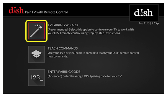 Pairing Wizard, Teach Commands, or Enter Code (use the remote to move up and down through the list of options)