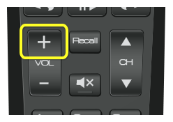 Volume up button on 50.0 remote (vertical rocker button near the bottom left of the remote)