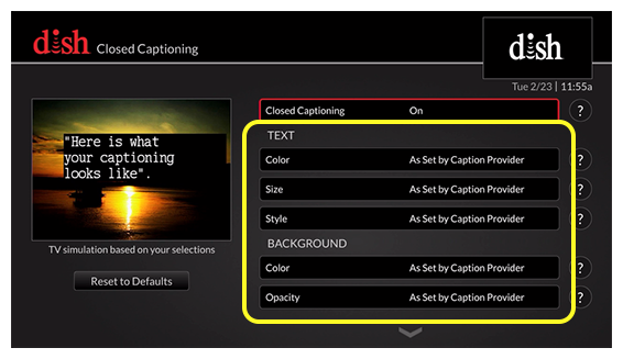 list of closed captioning options (Use the remote control to move up and down through the list of options.)